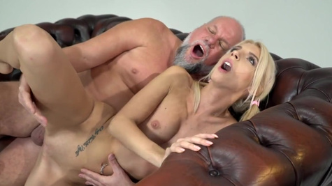 Young blonde Missy Luv doesn't mind having sex with old mentor