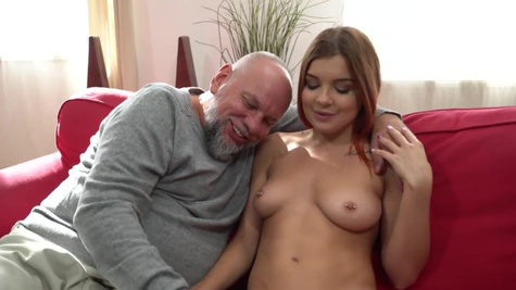 Sweet redhead Renata Fox tries sex with old bearded guy