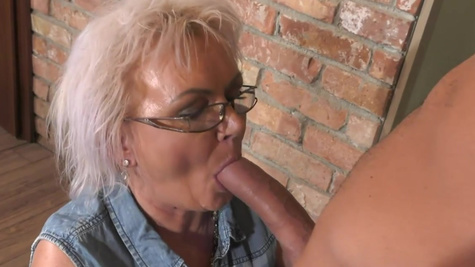 Young guy thrusts cock into mature maid Elvira's cunt