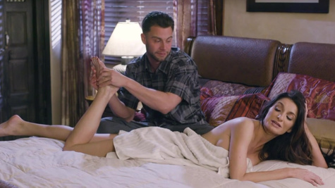 Stepson takes care of daddy's wife Silvia Saige in the bed