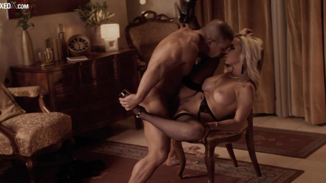 Gorgeous blonde Christina Shine dances for her BF before sex