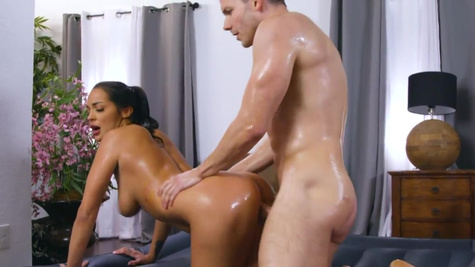 Slutty maid Sofi Ryan pleases young guy with massage and sex