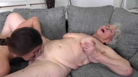 Old lesbian bitch is happy to duck young gal Tiffany Doll