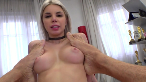 After Rocco slammed Olivia Sin's pussy she was covered in jizz