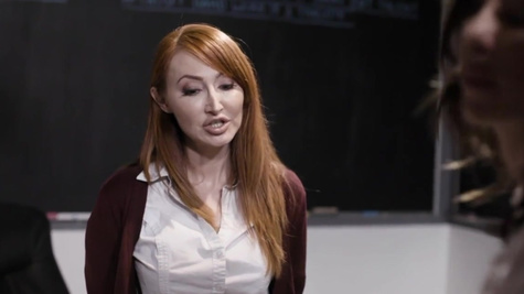 Principal Kendra James with red hair likes to have lesbian fun