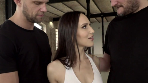 Raunchy coach and friend double penetrate ballerina Lilu Moon