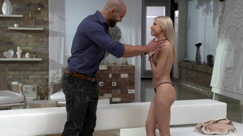 Bearded giant helps Olivia Sin undress and fucks shaved pussy