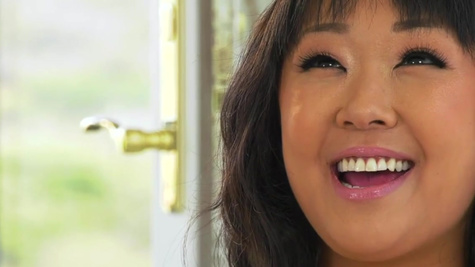 Asian Saya Song answers questions wearing sexy lingerie