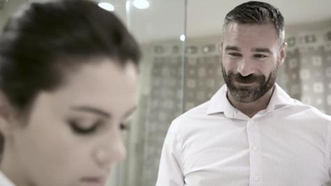 Bearded employer fucks maid Valentina Nappi in the bathtub