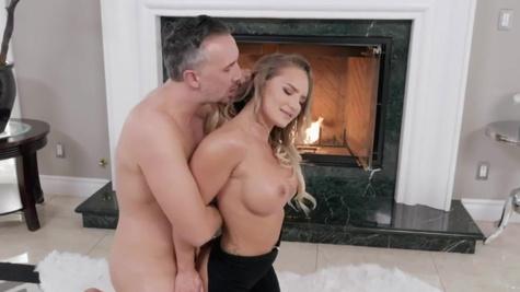 Fuck buddy analyzes Cali Carter by the burning fireplace