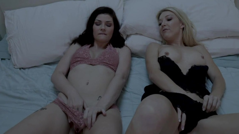 Laura Bentley and Jessica Rex try scissoring at night