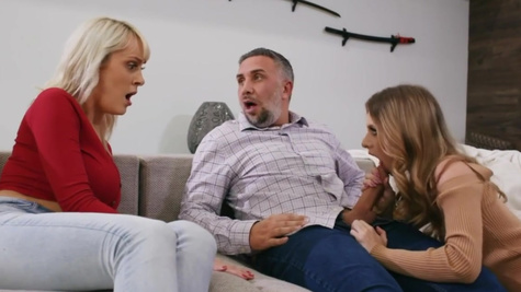 Anya Olsen goes crazy on Keiran Lee's cock on sofa