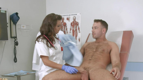 Nurse Keisha Grey stretched by a very excited patient