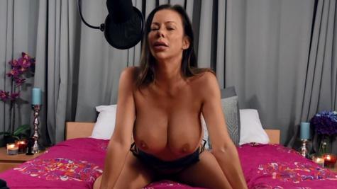 Big-boobied goddess Alexis Fawx sucks and rides dildo