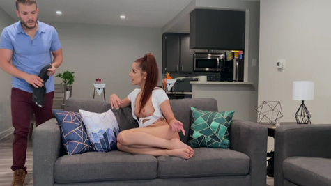 Plumber agrees to fuck redhead Vanna Bardot as payment