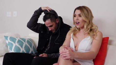 MILF lures stepson and his GF Aubrey Sinclair into sex