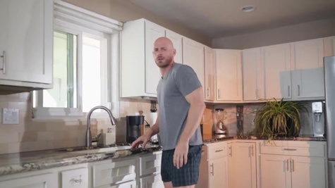 Anya Ivy in Johnny Sins can't believe his eyes, the very same set of tits he's jerking off are outside his front window doing yoga