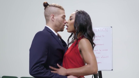 Misty Stone in Misty Stone's cheating husband just got a life sentence behind bars, but she really wants to punish him for his trifling ways. So this busty ebony MILF decides to screw her husband over by screwing his lawyer right in front of him