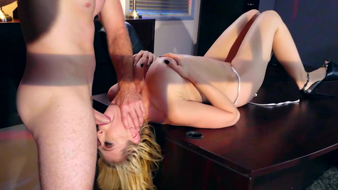 Mind blowing office hardcore along blonde with big natural tits