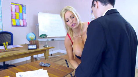 Milf teacher feels amazing with young lad's cock into her needy mouth