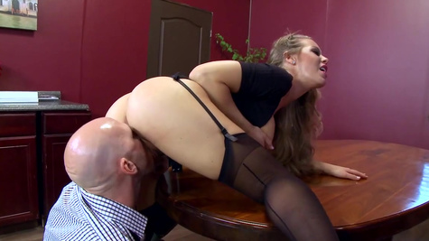 Cougar milf enjoys sex with the boss for a big raise