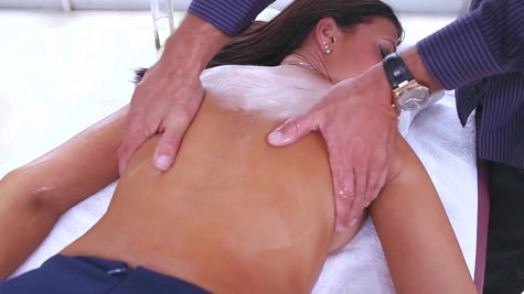 Wife tries leading the masseur into her shaved pussy and ass