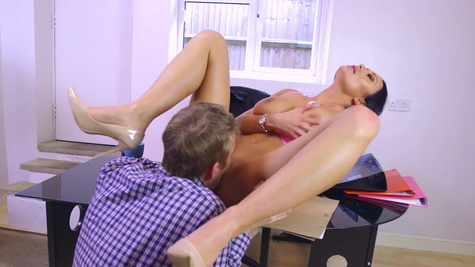 Voluptuous raven leaves hot lad to stick his giant dick down her ass