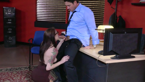 Amazing office secretary leaves boss to ass fuck her