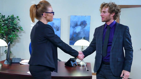 Job interview turns into a wild fuck for blonde cougar with big tits