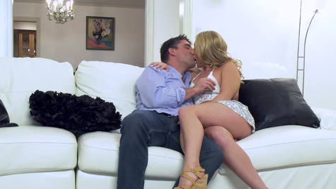 Blonde doll ass fucked in crazy threesome couch adventure
