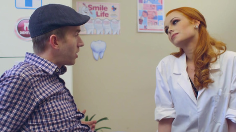 Skinny redhead nurse screams with a big dick in her snatch