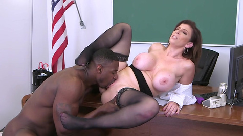 Mature with huge tits takes black monster inside her fat cunt