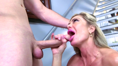 Milf with fake tits hard fucked and made to swallow