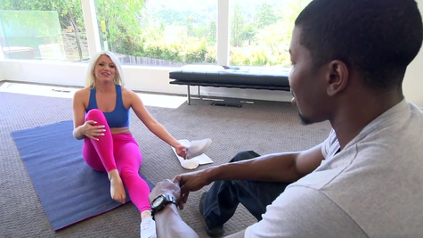 Yoga lesson goes wild for blonde cougar in love with the black dick