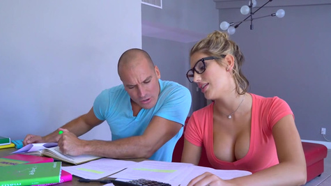 Voluptuous blonde oiled and hard fucked by study buddy