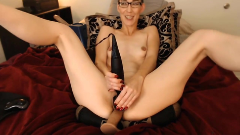 Slutty webcam mom frolicking with a simulator