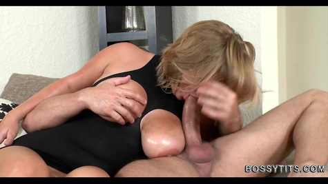 Milking games and blowjob - Busty gives all the best