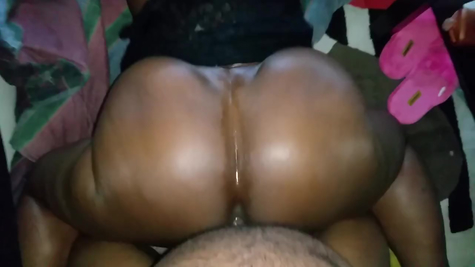Bubble doggy style shot black slut