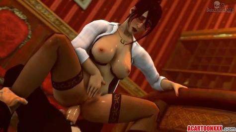 Порно мультик - грудастая баба и огромные хуи