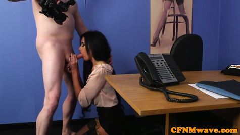 Brunette sucks and jerks off dick - bitch working