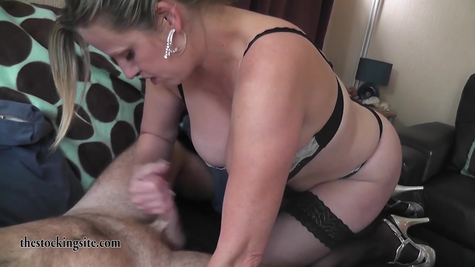 A very busty mature sucks and jerks off her favorite strong pussy